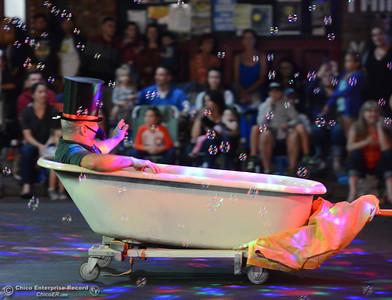 Bathtub Refinishers floats down the 28th annual Chico Parade of Lights Saturday October 7, 2017 in Chico, California. (Emily Bertolino -- Enterprise-Record)
