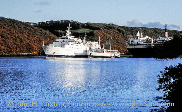 MV EARL WILLIAM and MV SOUTHSEA, King Harry Passage, Cornwall - October 29, 1990