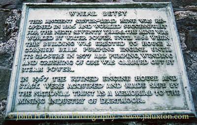 Wheal Betsy National Trust information plaque.