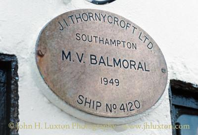 MV BALMORAL - builders plate - September 17, 1991