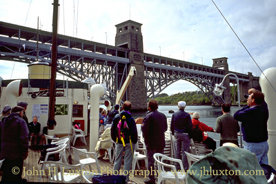 MV BALMORAL passing under the Britannia Bridge in the Menai Straits - May 1995