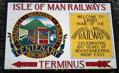 Station sign with Snaefell Mountain Railway Centenary Logo