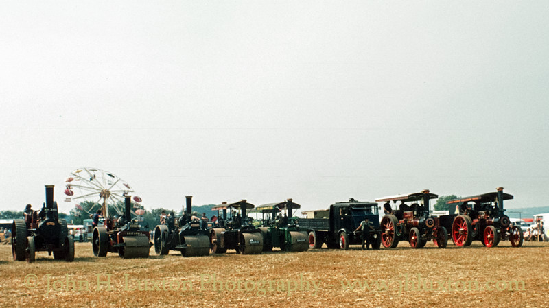 Line up of Traction Engines, Steam Rollers and a Steam Lorry at Merrymeet Rally - August 06, 1981