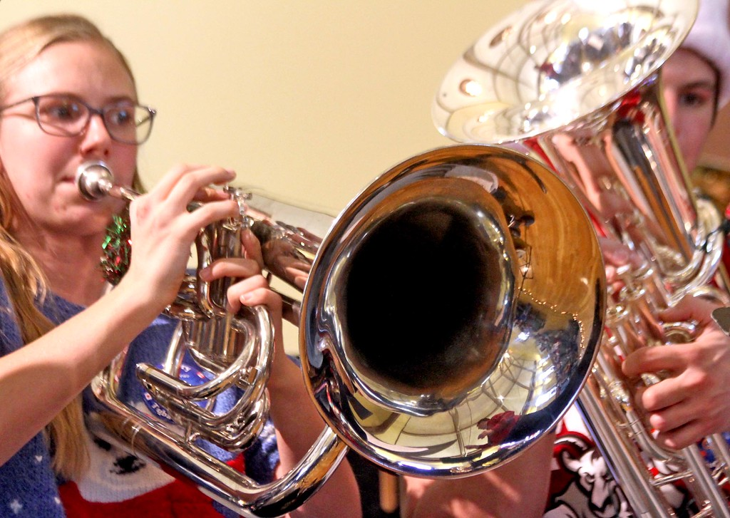 . WPI students playing in the Annual Tuba Christmas Concert at the Ayer Town Hall, L-R,  Zoe Januszewski 18 and Matt Nicastro 18. SUN/ David H. Brow