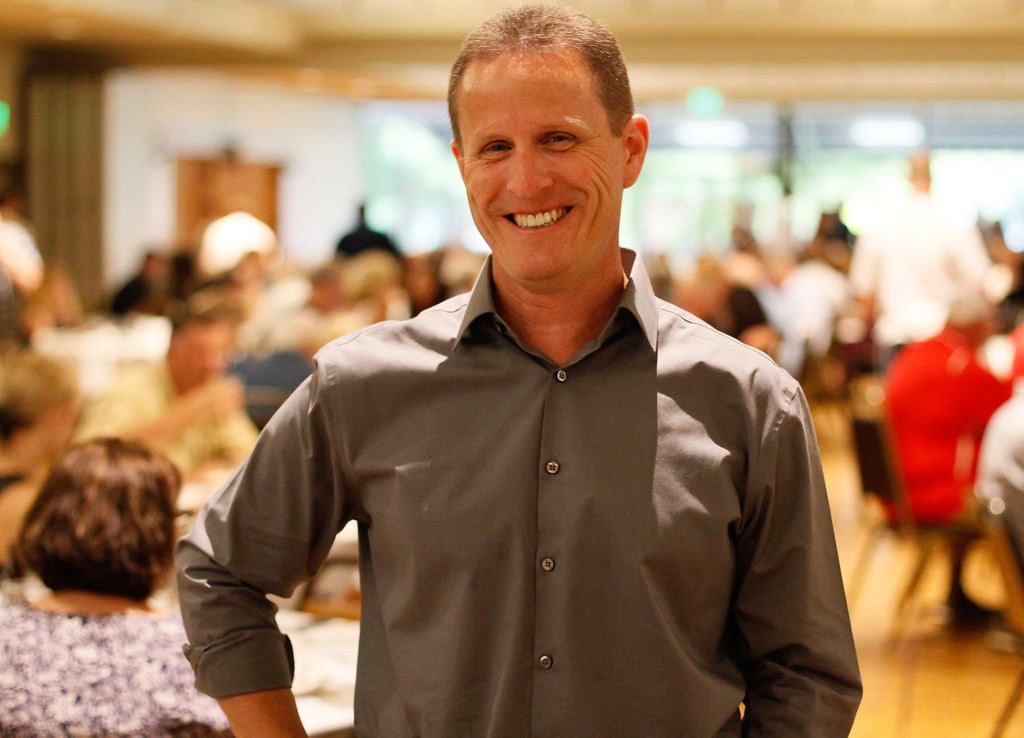 . Chico Community Sportsperson of the Year nominee Pleasant Valley High School soccer coach Mike Vought at the 45th annual Chico Sports Hall of Fame and Senior Athletes Banquet Tuesday May 9, 2017 at the Elks Lodge in Chico, California. (Emily Bertolino -- Enterprise-Record)