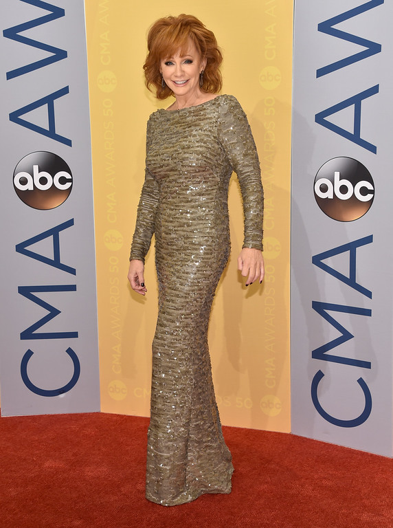 . Reba McEntire arrives at the 50th annual CMA Awards at the Bridgestone Arena on Wednesday, Nov. 2, 2016, in Nashville, Tenn. (Photo by Evan Agostini/Invision/AP)