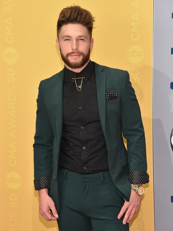 . Chris Lane arrives at the 50th annual CMA Awards at the Bridgestone Arena on Wednesday, Nov. 2, 2016, in Nashville, Tenn. (Photo by Evan Agostini/Invision/AP)