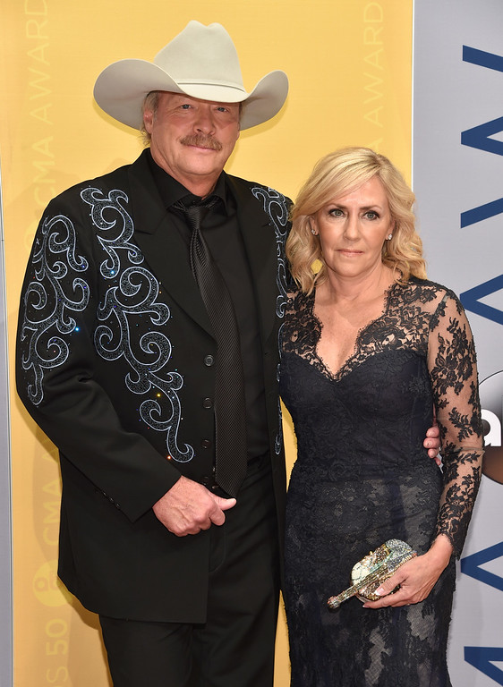 . Alan Jackson, left, and Denise Jackson arrive at the 50th annual CMA Awards at the Bridgestone Arena on Wednesday, Nov. 2, 2016, in Nashville, Tenn. (Photo by Evan Agostini/Invision/AP)