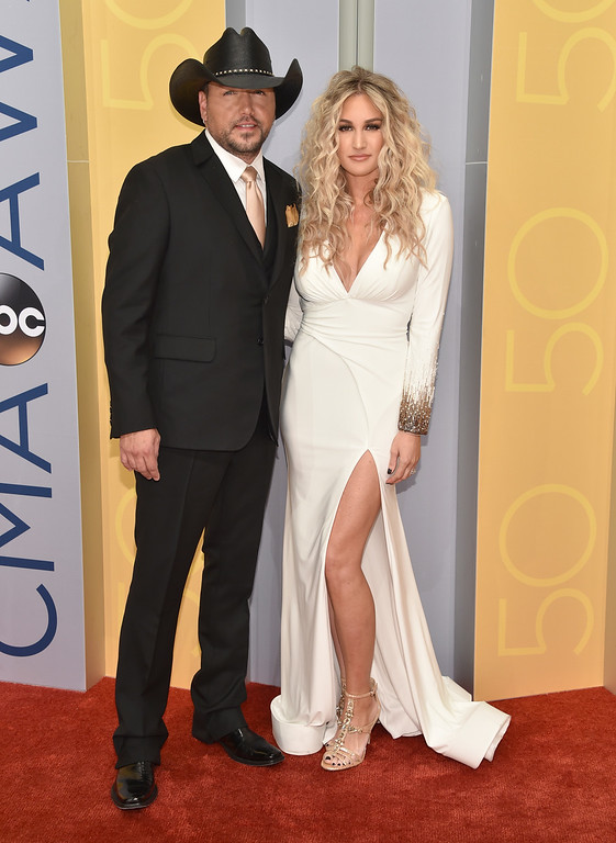 . Jason Aldean, left, and Brittany Kerr arrive at the 50th annual CMA Awards at the Bridgestone Arena on Wednesday, Nov. 2, 2016, in Nashville, Tenn. (Photo by Evan Agostini/Invision/AP)