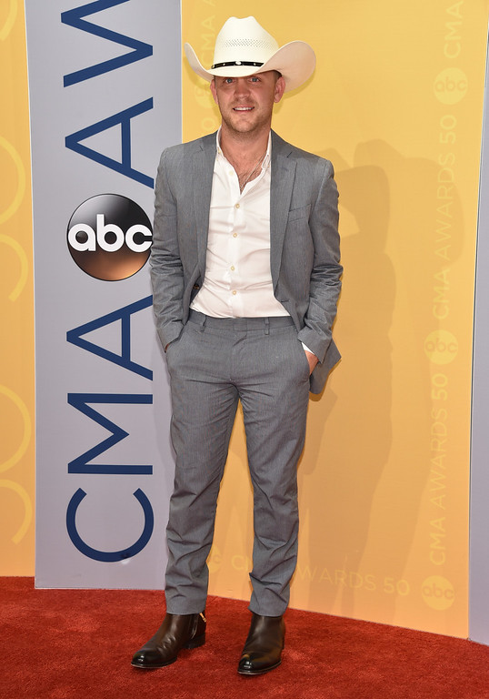 . Justin Moore arrives at the 50th annual CMA Awards at the Bridgestone Arena on Wednesday, Nov. 2, 2016, in Nashville, Tenn. (Photo by Evan Agostini/Invision/AP)