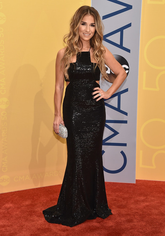 . Jessie James Decker arrives at the 50th annual CMA Awards at the Bridgestone Arena on Wednesday, Nov. 2, 2016, in Nashville, Tenn. (Photo by Evan Agostini/Invision/AP)