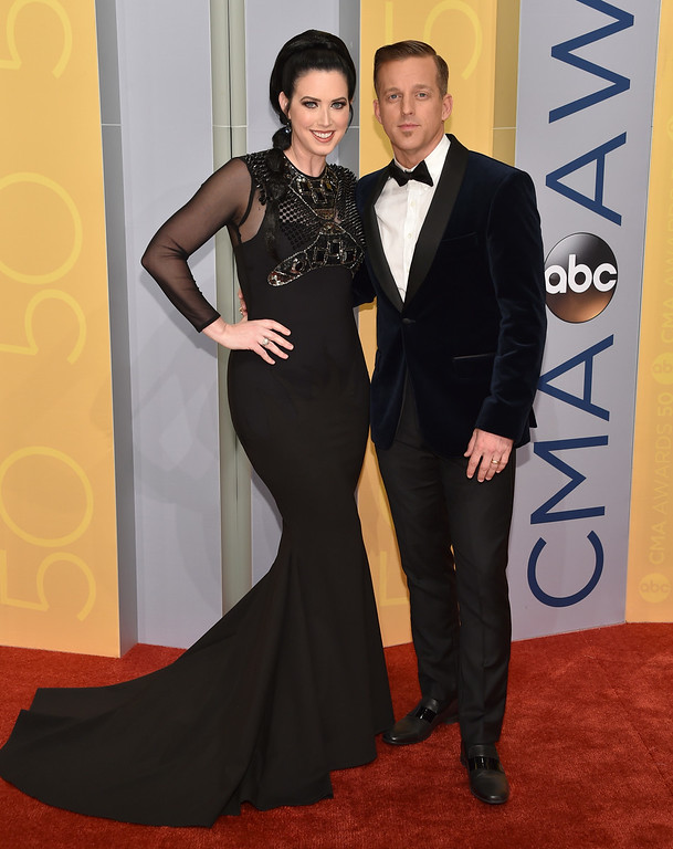 . Shawna Thompson, left, and Keifer Thompson, of Thompson Square, arrive at the 50th annual CMA Awards at the Bridgestone Arena on Wednesday, Nov. 2, 2016, in Nashville, Tenn. (Photo by Evan Agostini/Invision/AP)