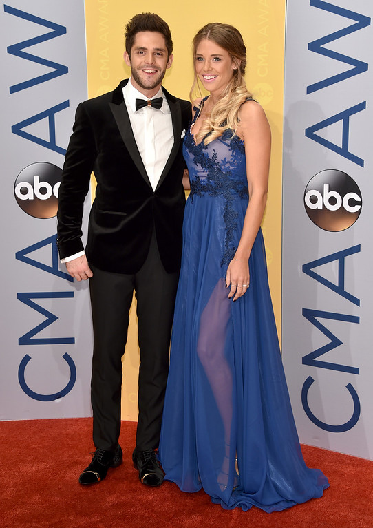 . Thomas Rhett, left, and Lauren Gregory arrive at the 50th annual CMA Awards at the Bridgestone Arena on Wednesday, Nov. 2, 2016, in Nashville, Tenn. (Photo by Evan Agostini/Invision/AP)