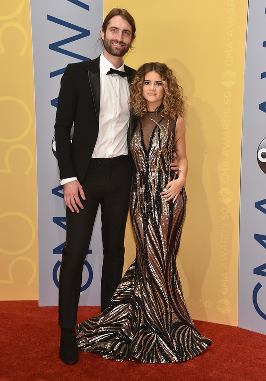 . Ryan Hurd, left, and Maren Morris arrive at the 50th annual CMA Awards at the Bridgestone Arena on Wednesday, Nov. 2, 2016, in Nashville, Tenn. (Photo by Evan Agostini/Invision/AP)