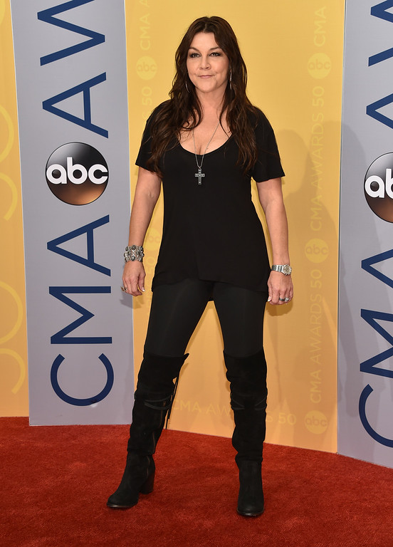 . Gretchen Wilson arrives at the 50th annual CMA Awards at the Bridgestone Arena on Wednesday, Nov. 2, 2016, in Nashville, Tenn. (Photo by Evan Agostini/Invision/AP)