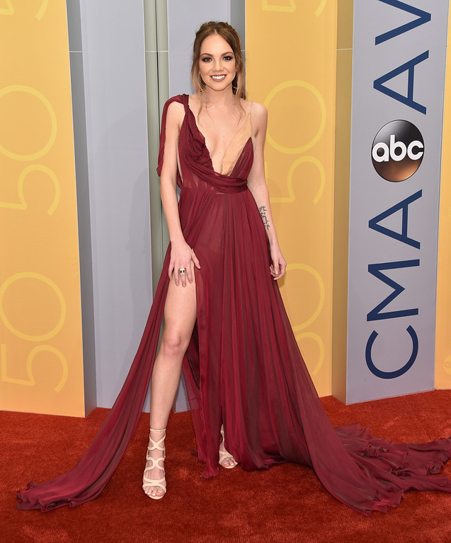 . Danielle Bradbery arrives at the 50th annual CMA Awards at the Bridgestone Arena on Wednesday, Nov. 2, 2016, in Nashville, Tenn. (Photo by Evan Agostini/Invision/AP)