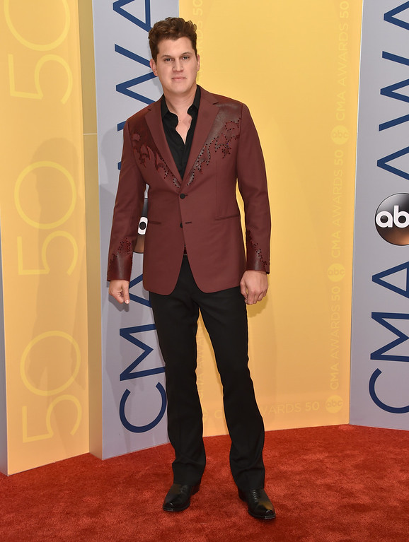 . Jon Pardi arrives at the 50th annual CMA Awards at the Bridgestone Arena on Wednesday, Nov. 2, 2016, in Nashville, Tenn. (Photo by Evan Agostini/Invision/AP)