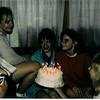 April 1988 - Andrea's Birthday - 13 guessing from the candles - Darcey, Andrea, Karrie, Jenny and Linda