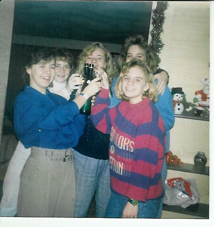 NYE at the Crouches - they always had sparkling cider for us kids - me, Karrie, Andrea, Heidi and Jenny