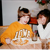 """January 1991 - Morgan and Erin - Morgan is asking """"are you going to eat your tots?"""""""