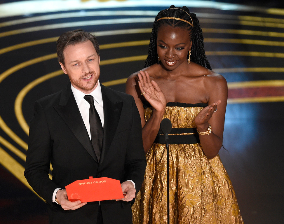 . James McAvoy, left, and Danai Gurira present the award for best sound editing at the Oscars on Sunday, Feb. 24, 2019, at the Dolby Theatre in Los Angeles. (Photo by Chris Pizzello/Invision/AP)