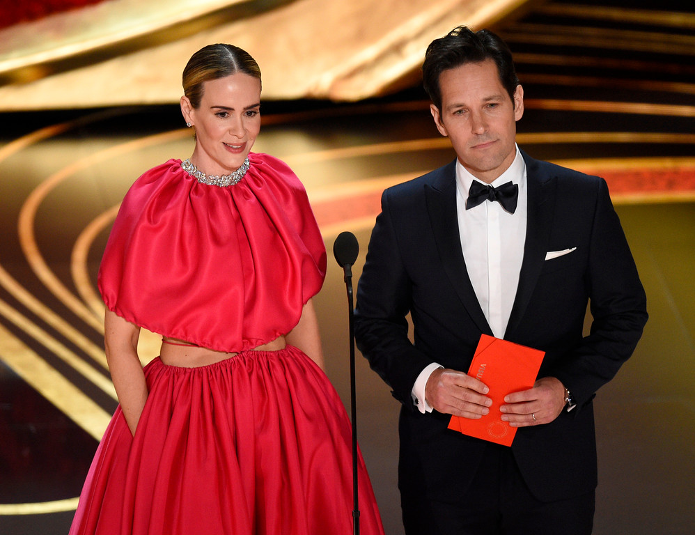 . Sarah Paulson, left, and Paul Rudd present the award for best visual effects at the Oscars on Sunday, Feb. 24, 2019, at the Dolby Theatre in Los Angeles. (Photo by Chris Pizzello/Invision/AP)