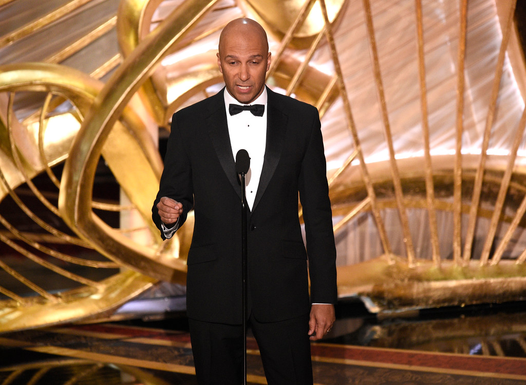 . Tom Morello speaks at the Oscars on Sunday, Feb. 24, 2019, at the Dolby Theatre in Los Angeles. (Photo by Chris Pizzello/Invision/AP)