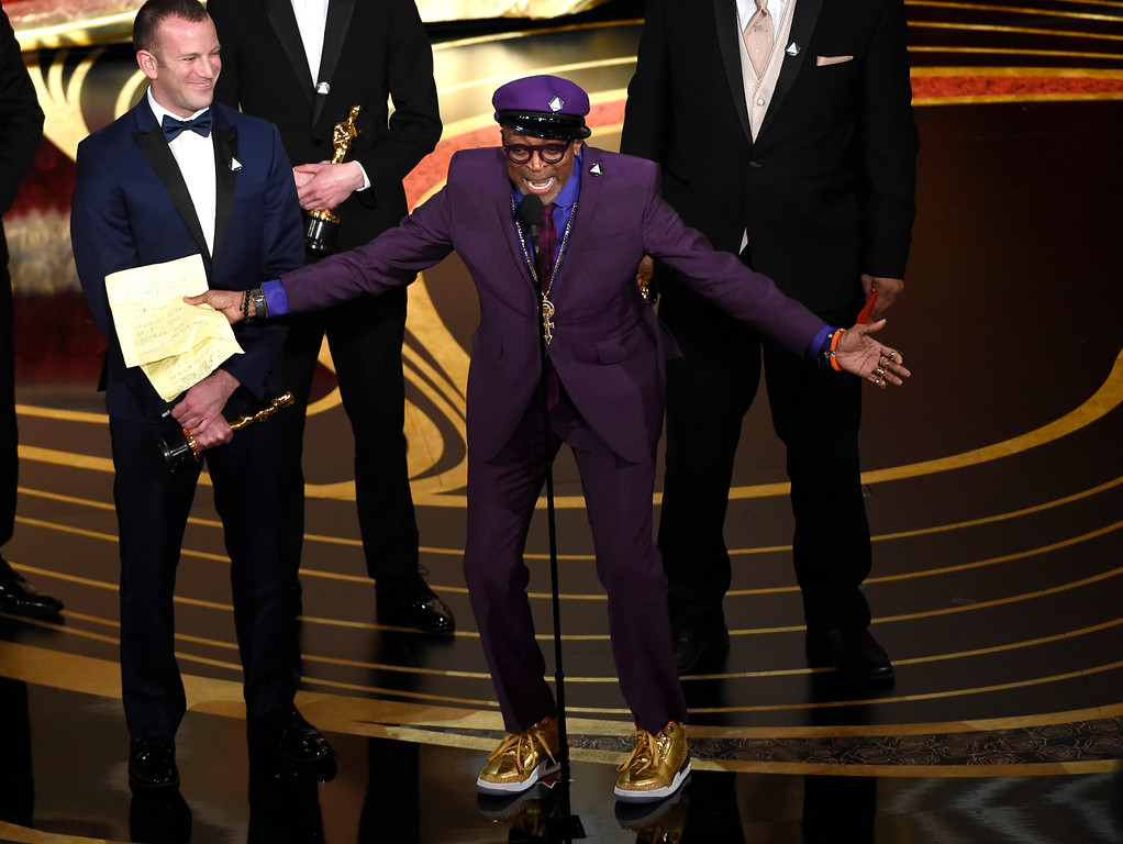 ". Charlie Wachtel, left, and Spike Lee accept the award for best adapted screenplay for ""BlacKkKlansman\"" at the Oscars on Sunday, Feb. 24, 2019, at the Dolby Theatre in Los Angeles. (Photo by Chris Pizzello/Invision/AP)"