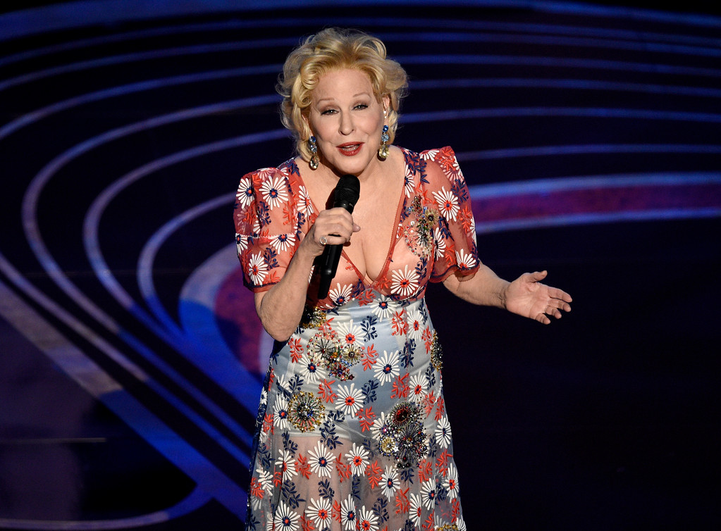 ". Bette Midler performs ""The Place Where Lost Things Go\"" from the film \""Mary Poppins Returns\"" at the Oscars on Sunday, Feb. 24, 2019, at the Dolby Theatre in Los Angeles. (Photo by Chris Pizzello/Invision/AP)"