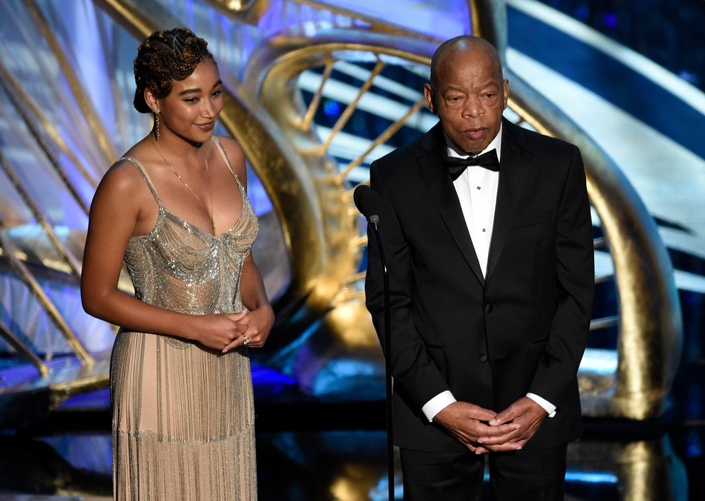 ". Amandla Stenberg, left, and Rep. John Lewis, D-Ga, introduce ""Green Book\"" at the Oscars on Sunday, Feb. 24, 2019, at the Dolby Theatre in Los Angeles. (Photo by Chris Pizzello/Invision/AP)"