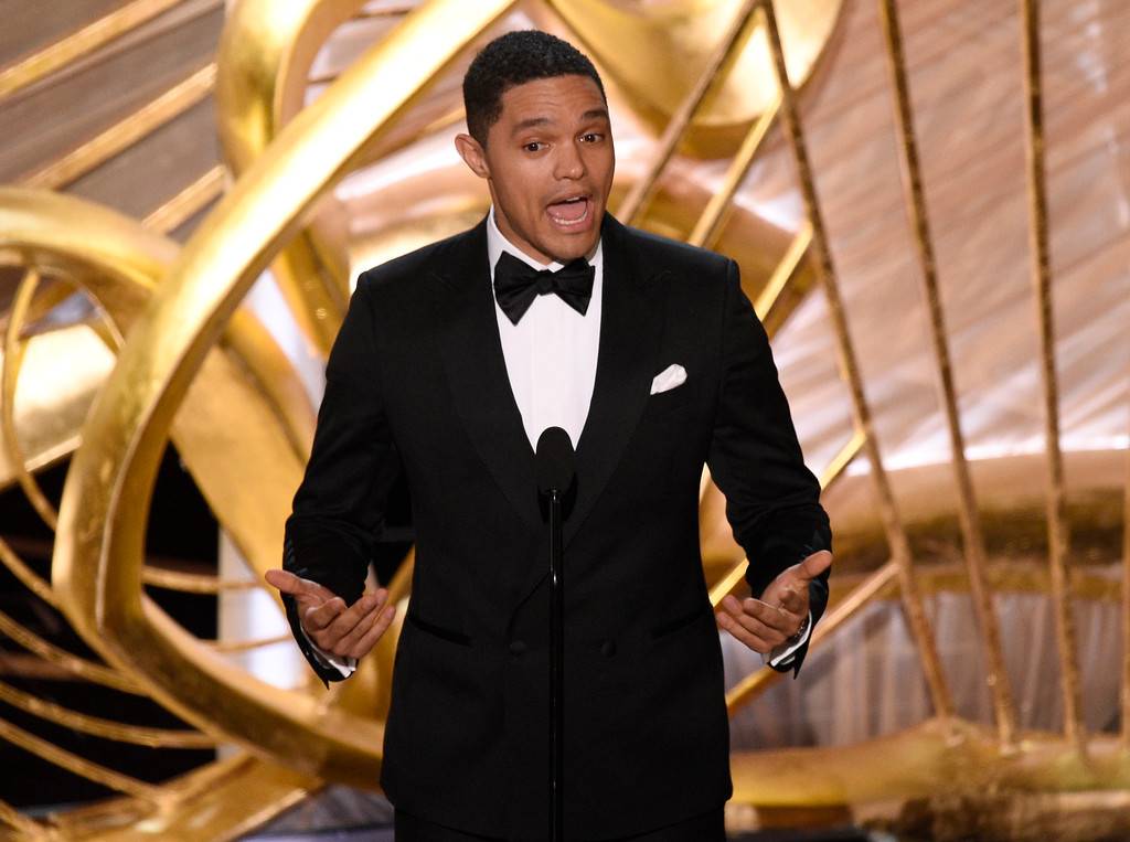 ". Trevor Noah introduces ""Black Panther\"" at the Oscars on Sunday, Feb. 24, 2019, at the Dolby Theatre in Los Angeles. (Photo by Chris Pizzello/Invision/AP)"