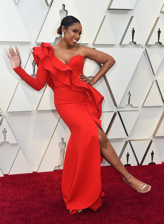 . Jennifer Hudson poses as she arrives at the Oscars on Sunday, Feb. 24, 2019, at the Dolby Theatre in Los Angeles. (Photo by Jordan Strauss/Invision/AP)
