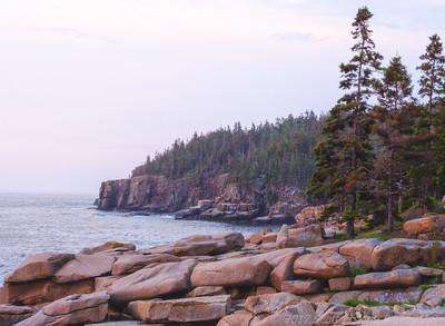 Otter Cliffs in Light Fog at Dawn