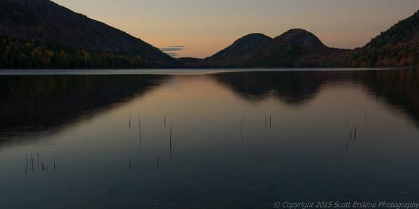 The Bubbles and Jordan Pond,  Sunset Stillness
