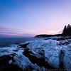 Thunder Hole, Iced Over, Sunset