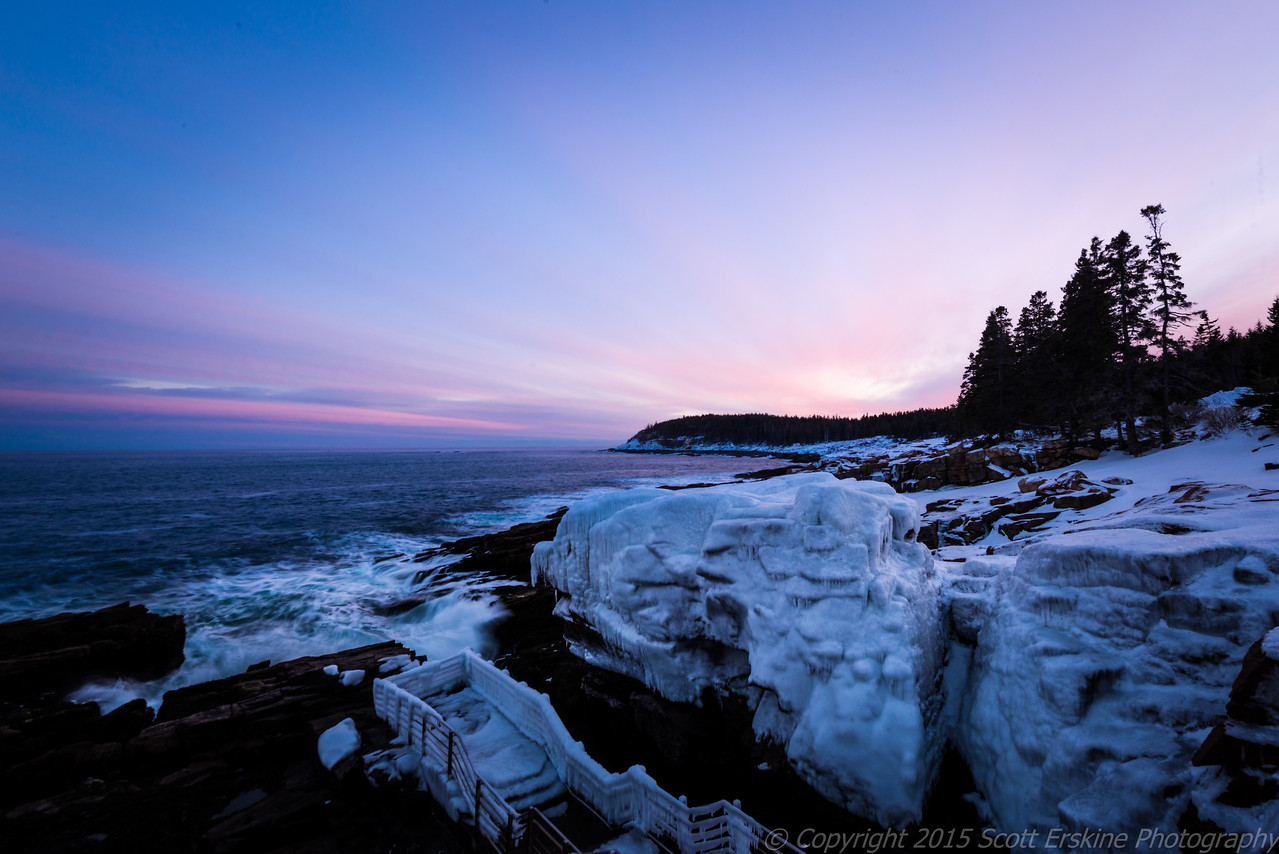 Thunder Hole, Iced Over, Sunset
