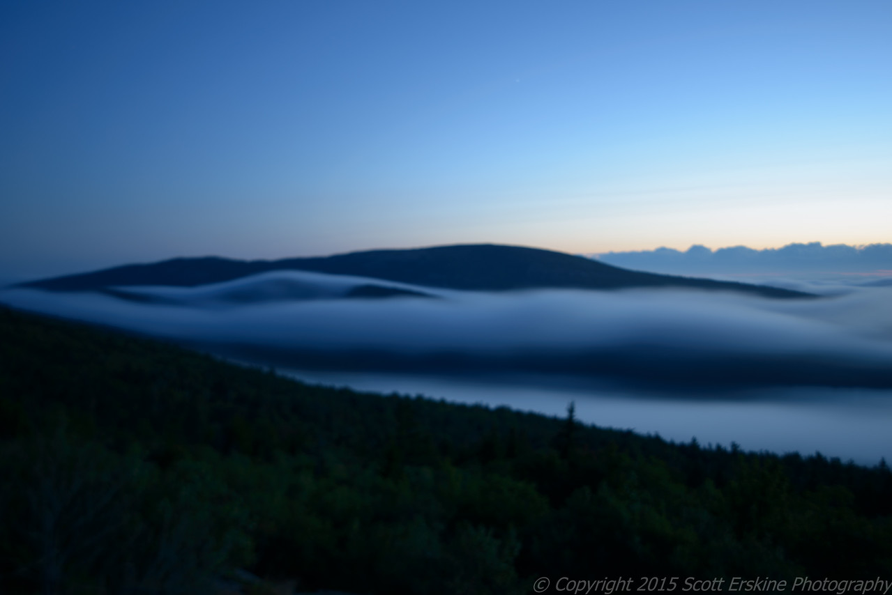 Fog forming over Eagle Lake, Sunset