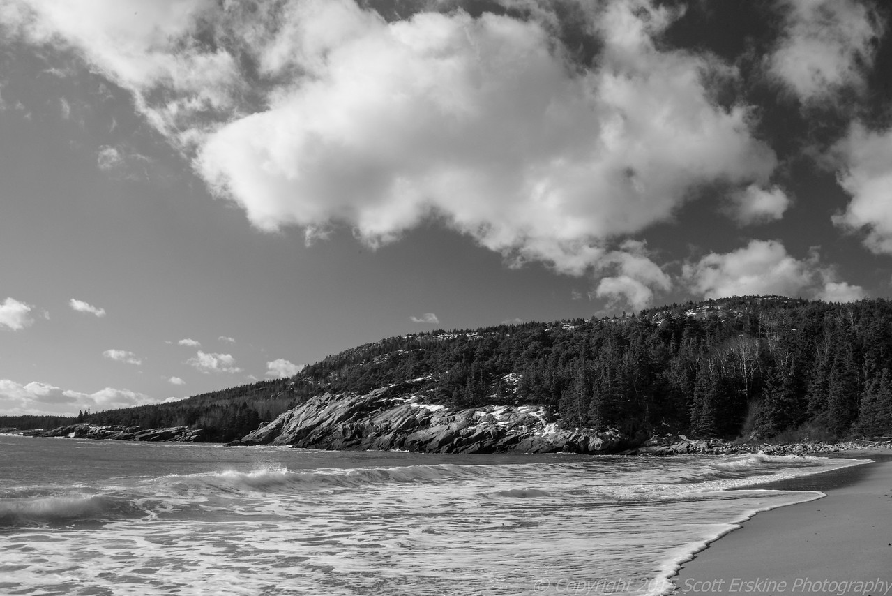 Winter Surf, Clouds, Sand Beach
