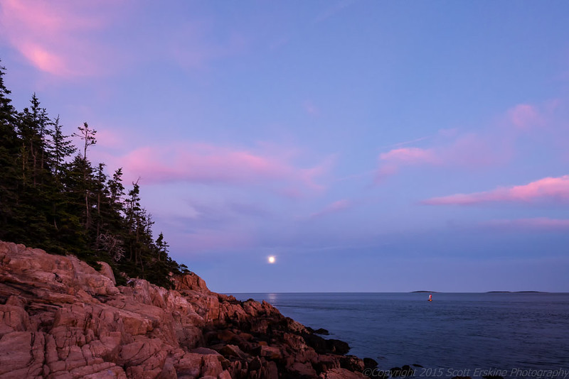 Moonrise and Afterglow, Bass Harbor