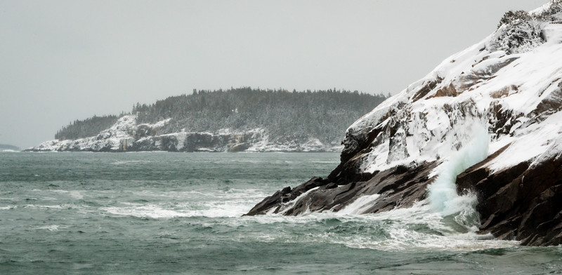 Winter Storm, Otter Cliffs from Sand Beach