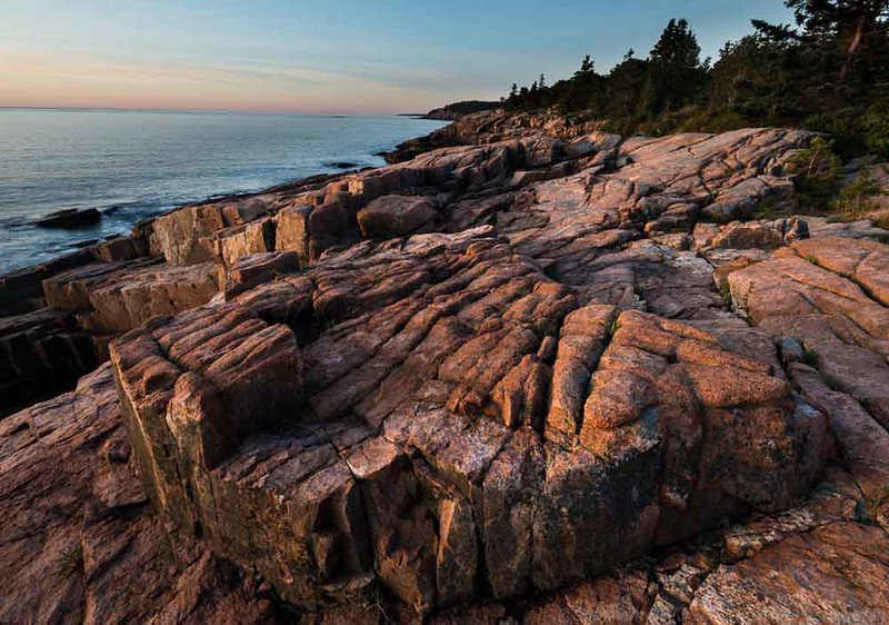 Pink Granite, Pink Sunrise, Acadia National Park, Maine