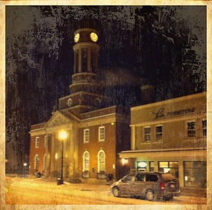 Harrietstown Town Hall by night