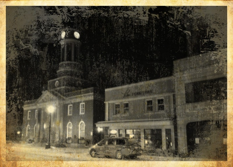 Harrietstown Town Hall and Rice Furniture - midnight snow