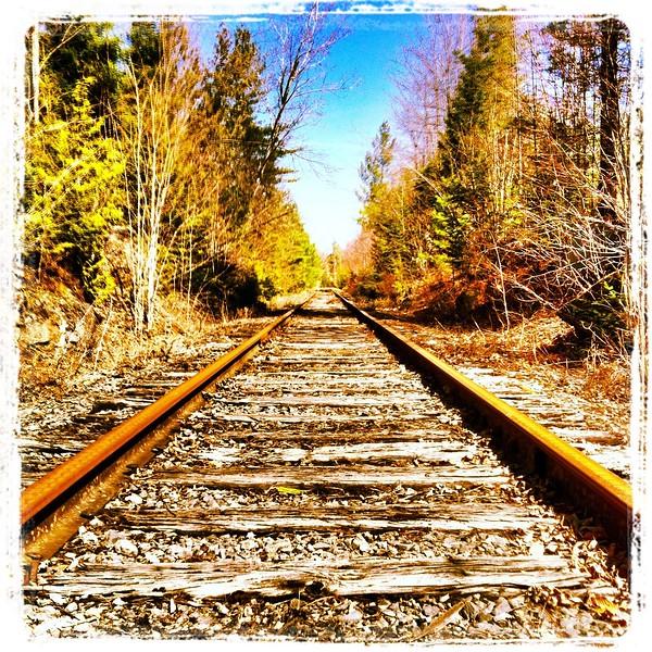 Rail line as it passes near Mount Arab Lake, Piercefield