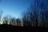 Moon at sunrise, Cedar Eden, with Baker Mtn in background