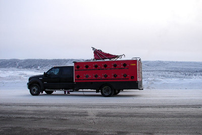 2006 Copper Basin 300 - Karen's truck with dog boxes, illustrates just a part of the huge investment these mushers make in the enjoyment of their sport.