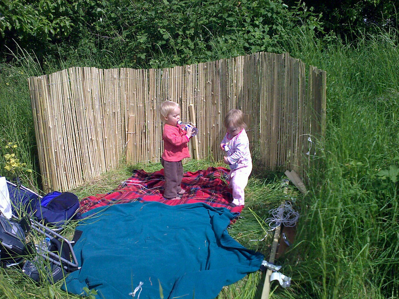 First task - make somewhere the girls can play (or be 'encouraged' to stay).  One roll of bambo screen and some oddments of old timber bashed into the ground.  The jury's out on whether the contraption will still be standing tomorrow - although this is intended to be temporary we need it to last more than just one day.  Lets hope Mr Fox keeps away.