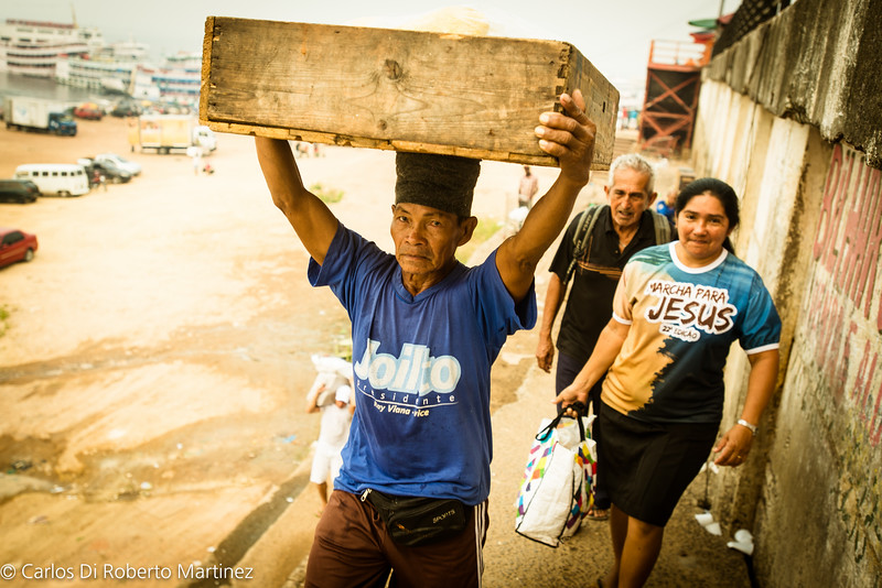 Manaus Port by the Fish Market at the River Negro Banks - Most of the cargo is loaded by hands