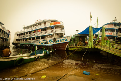 Manaus Port by the Fish Market at the River Negro Banks