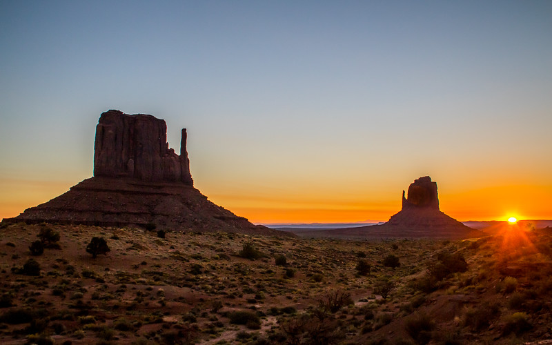Clear Monument Valley Sunrise